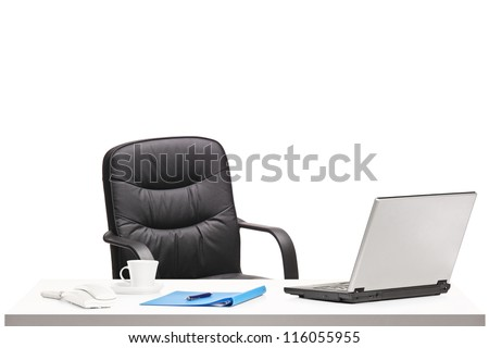 Office with chair, laptop and other office objects isolated on white background