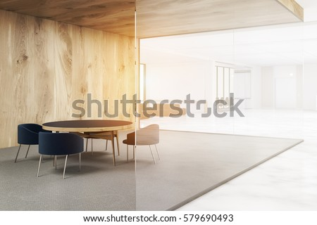 Office with white and wooden walls. Waiting area with a round table surrounded by armchairs. 3d rendering. Mock up. Toned image.
