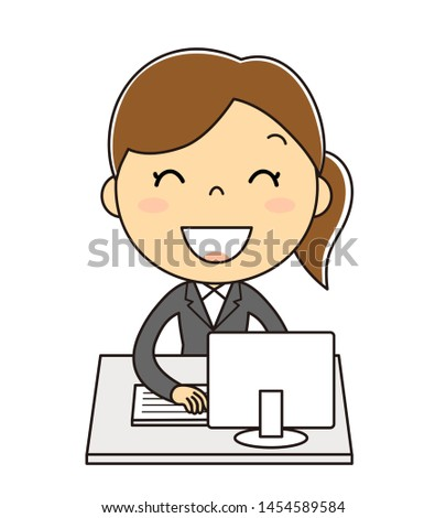 Office Woman and PC Illustration clip art