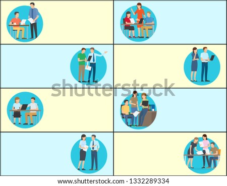 Office work and working task, collection of web pages with text sample and headlines, images of people doing job, isolated on raster illustration #1332289334