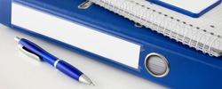Office work blue file folder and pen