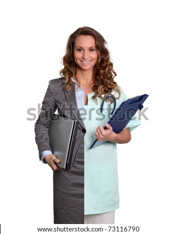 Office worker and medicalcare woman