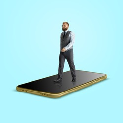 Office worker, businessman in suit going on the surface of giant smartphone's screen isolated on background. Modern business and finance, devices, time, creative artwork, contemporary design.