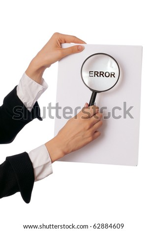 office worker holds in the hand a paper with description of error in the program