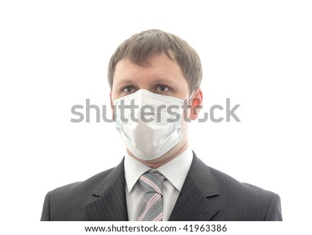 Office worker in the medical mask. Isolated object.