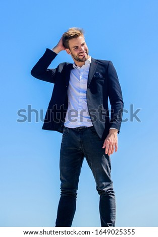 Office worker. Looking impeccable. Ready to work. Male fashion. Formal style. Confident handsome businessman. Handsome man fashion model. Handsome guy posing in formal suit blue sky background.