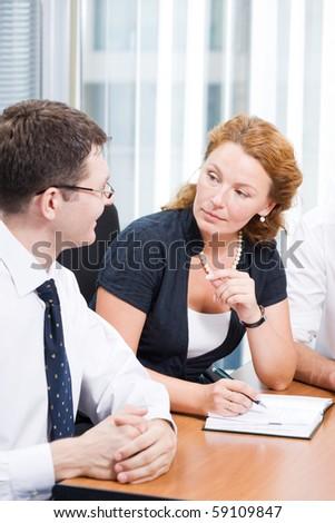 Office worker on meeting in board room