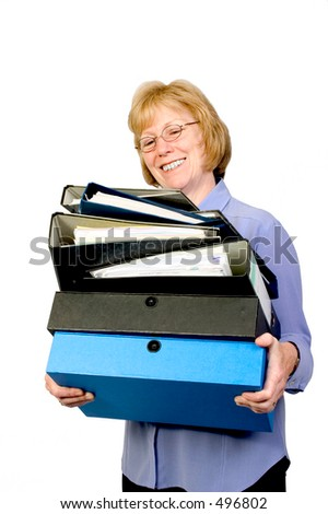 Office worker with a pile of files