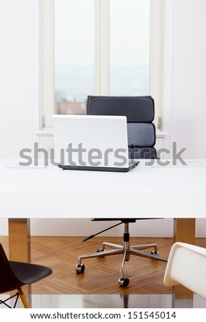 office workplace table and laptop white background architecture nobody