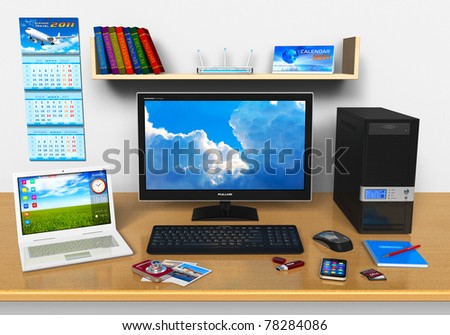 Office workplace with desktop computer, laptop, smartphone, compact digital camera, flash drive and other devices