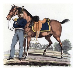 Officer (Captain) of the Field Artillery, with Harnessed Riding Horse, vintage engraving.