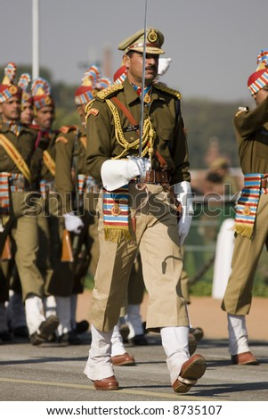 Officer leading his men marching down the Raj Path in preparation for Republic Day Parade, New Delhi, India