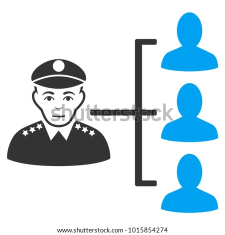 Officer Subordinates raster icon. Flat bicolor pictogram designed with blue and gray. Person face has joy sentiment.
