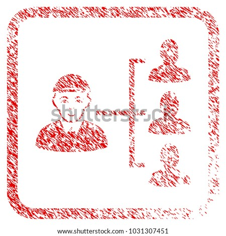 Officer Subordinates rubber seal stamp watermark. Icon raster symbol with unclean design and unclean texture in rounded square frame. Scratched red sign. Dude face has smiling sentiment.