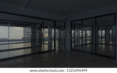 Offices with a View in Dim Natural Light 3D Rendering #1321696499