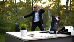 Officeworker is training on a fresh air