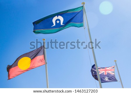 Photo of  Official flags of Australia: the Australian flag, Aboriginal flag and Torres Strait Islander flag