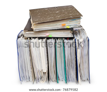 Official papers in folders are isolated on the white