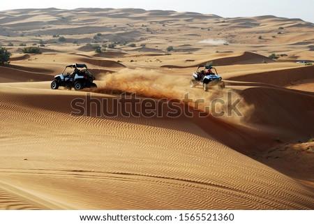 Offroad buggy desert safari race trip in Dubai, UAE Stock photo ©