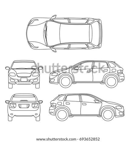 Offroad suv auto outline vehicle. Car model suv, illustration of suv automobile blueprint scheme