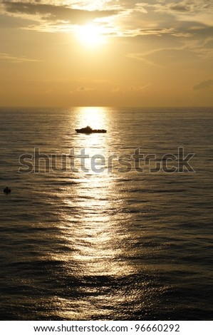 Offshore Boat for Offshore Crew Before Sunset