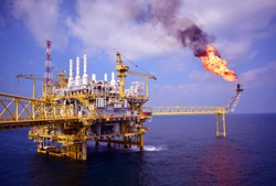 Offshore construction platform for production oil and gas, Oil and gas industry.