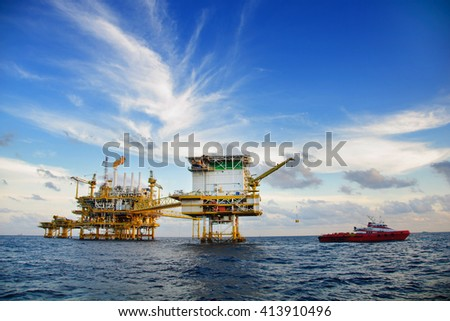 Offshore construction platform for production oil and gas, Oil and gas industry and hard work, Production platform and operation process by manual and auto function.