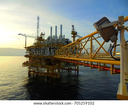 Offshore construction platform for production oil and gas, Oil and gas industry and hard work, Production platform and operation process by manual and auto function.Asia 2017