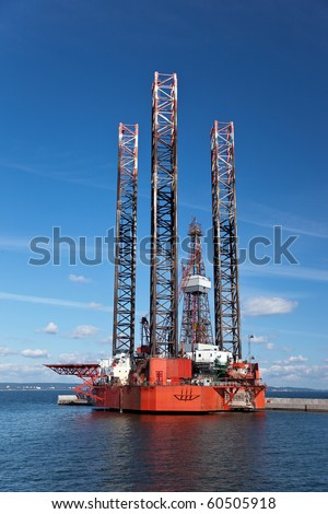 Offshore drilling on the background of blue sky.