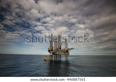 Offshore Jack Up Drilling Rig in the middle of the South China Sea