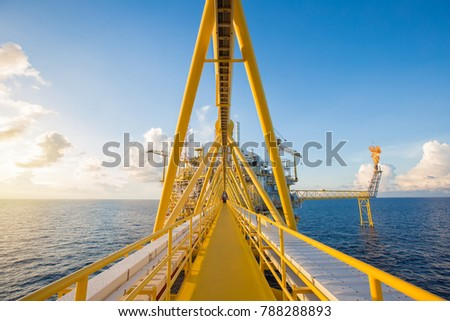 Offshore oil and gas central processing platform and flare platform while flaring waste gases from gas conditioning process to treat before sent to onshore refinery and petroleum plant. #788288893