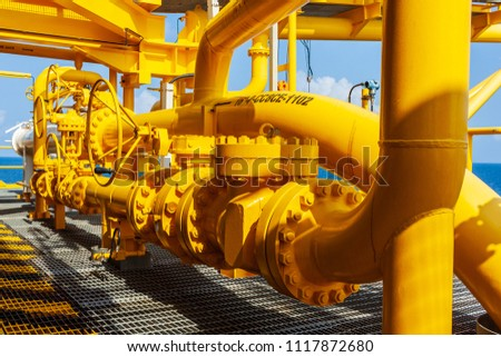 Offshore oil and Gas central processing platform and remote platform produced oil, natural gas and liquid condensate for set to onshore refinery from offshore in ocean sea background. #1117872680