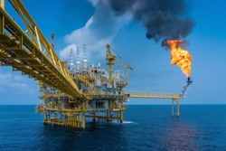 Offshore oil and gas construction platfor, Power and energy business industry.