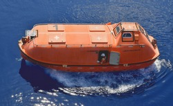 Offshore oil and gas platform test drive lifeboat. To ready at all times.
