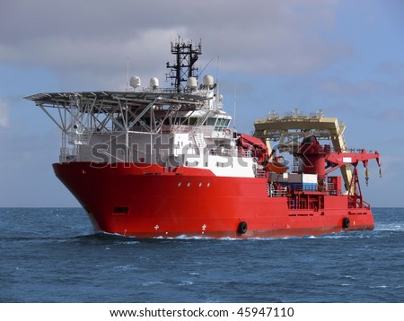 Offshore oil and gas sub-sea construction and support vessel.