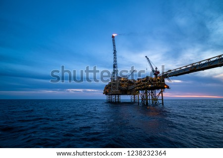 Offshore oil platform in the north sea.