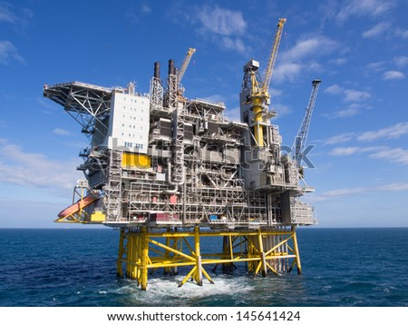 Offshore oil platform on the North Sea in the Norwegian sector