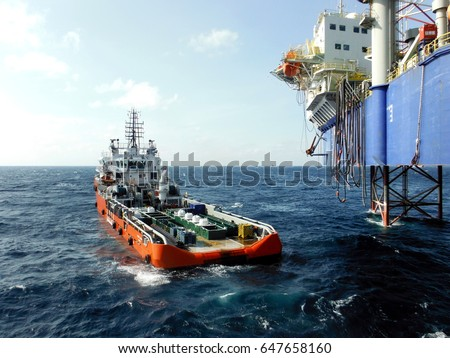 Offshore Oil Rig and Supply vessel