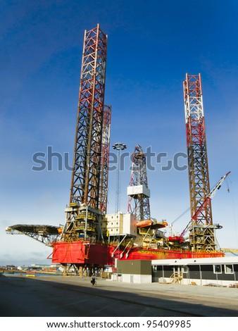Offshore oil rig drilling platform in Esbjerg, Denmark - stock photo