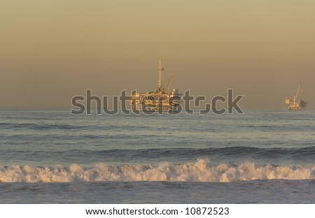 Offshore Oil Rigs taken from Huntington Beach California at Dawn