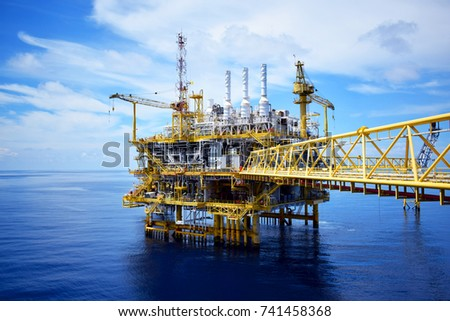 Offshore platform of the in sea southeast asia. Blue sky,blue sea and offshore platform.