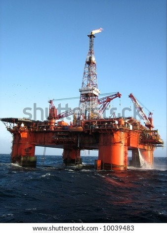 Offshore platform off the coast of Scotland - stock photo