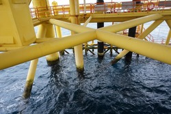 Offshore platform structure at sea deck facilities,Sarawak Operation,South China Sea.Also know as spider web structure.