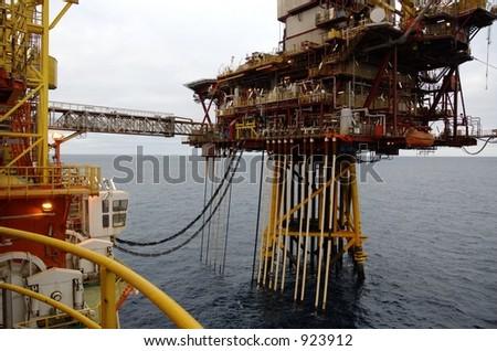 Offshore platforms and crossing walkway bridge