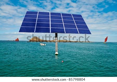 Offshore solar panel in the ocean