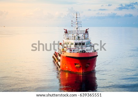 offshore supply boat in a calm weather day