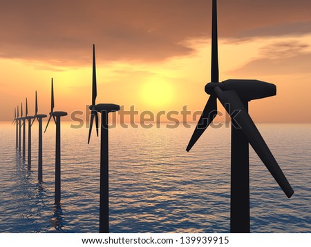 Offshore Wind Farm Computer generated 3D illustration