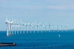 offshore wind farm in Baltic Sea off Copenhagen, Denmark