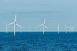 offshore wind farm with wind turbines in the north sea, atlantic