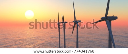 Offshore wind power Computer generated 3D illustration